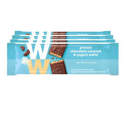 Pack of 4, WW Protein Chocolate Coconut and Yogurt Wafer, coconut and yogurt cream filling, smooth chocolate, high in protein, 2 SmartPoints each