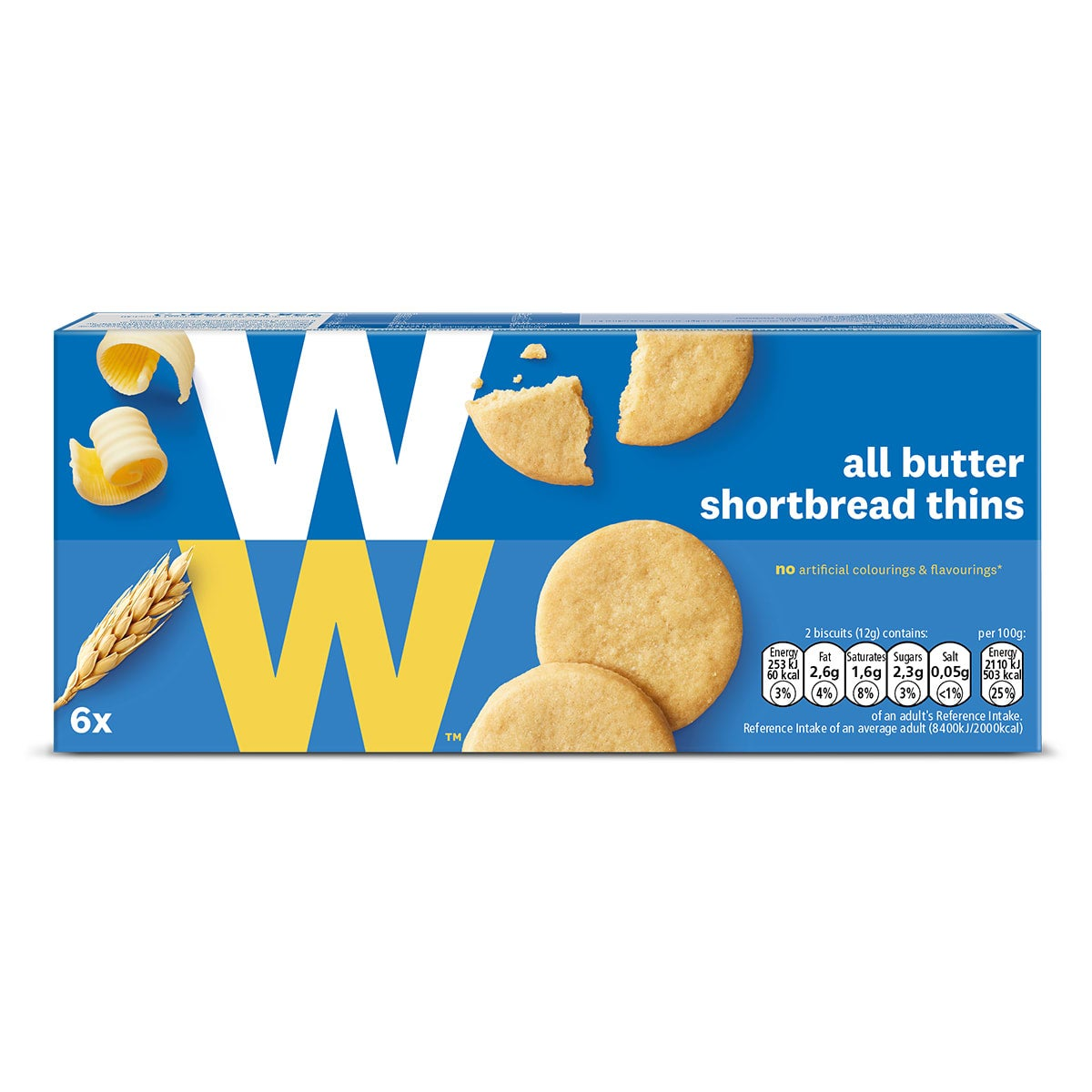 Box of 6, WW All Butter Shortbread Thins, light, crispy, melt-in-your-mouth, 2 SmartPoints values a pair, suitable for vegetarians