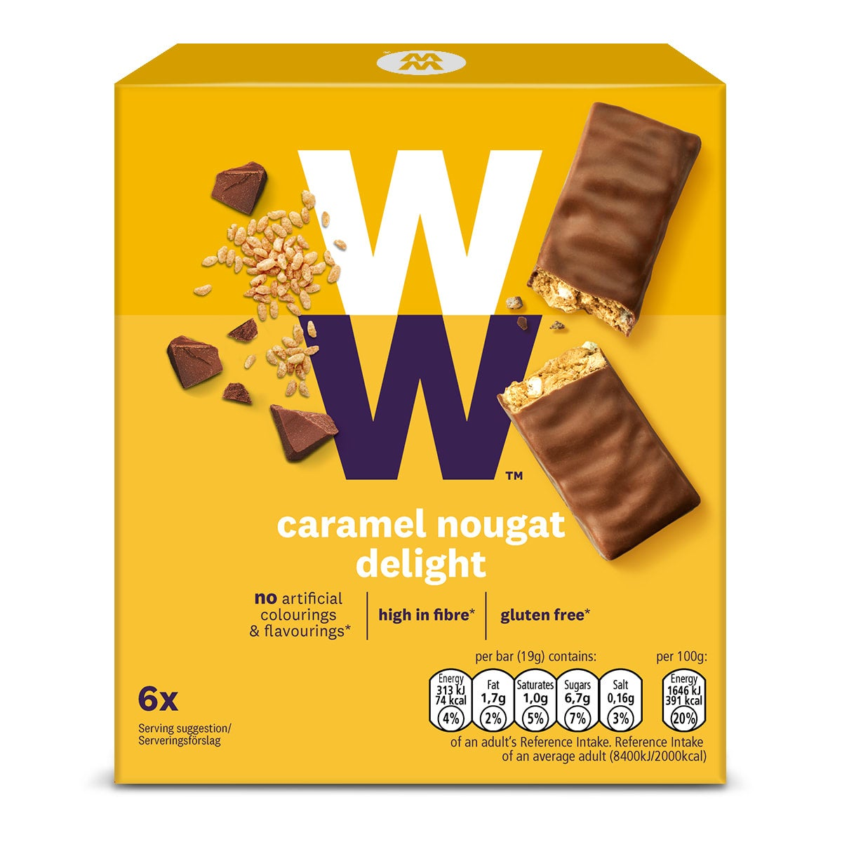 Box of 6, WW Caramel Nougat Delight Bar, chewy caramel nougat, crispy puffed rice, High in fibre, gluten-free,3 SmartPoints values, suitable for vegetarians