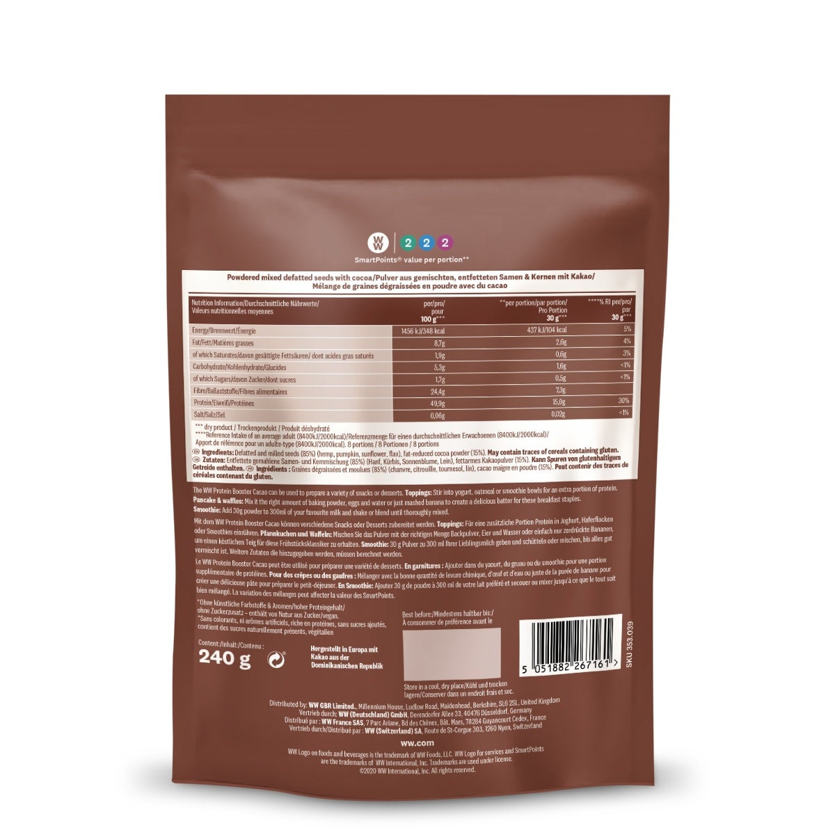 Protein Powder Cacao back of pack