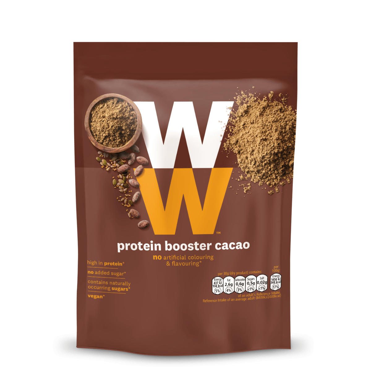 WW Protein Powder Cacao, high in protein, use for cooking, toppings or smoothies, no added sugar, 2 SmartPoints per portion, suitable for vegans