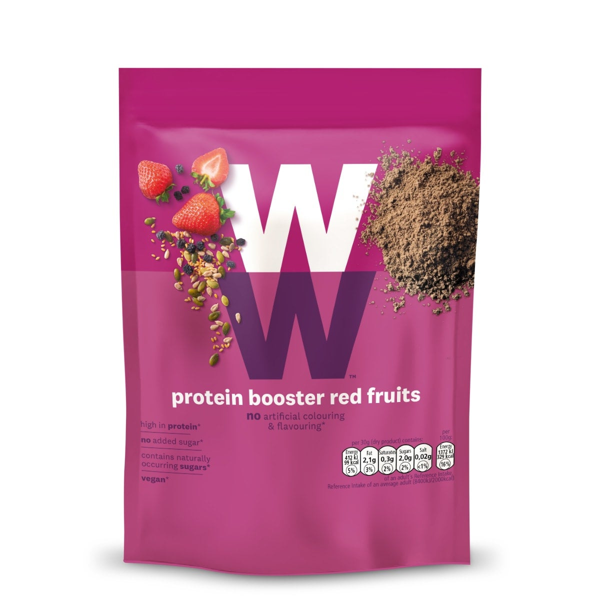 WW Protein Powder Red Fruits, high in protein, use for cooking, toppings or smoothies, no added sugar, 2 SmartPoints per portion, gluten free, suitable for vegans