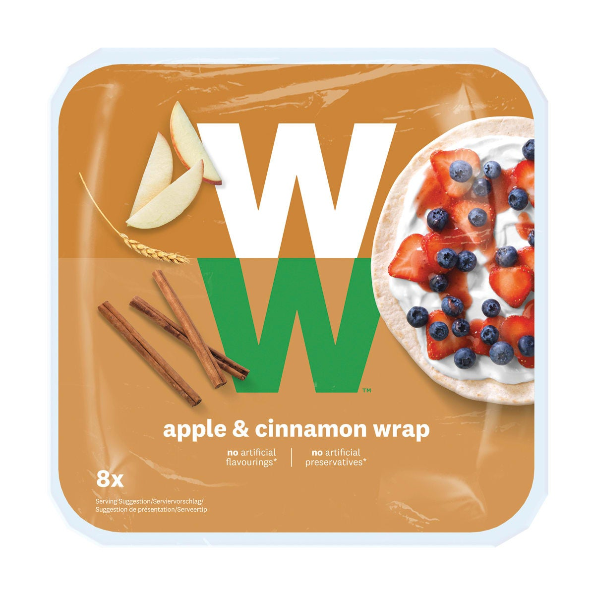 WW Apple & Cinnamon Wrap, dried apple pieces and cinnamon, alternative to bread, 3 SmartPoints values per wrap, suitable for vegans