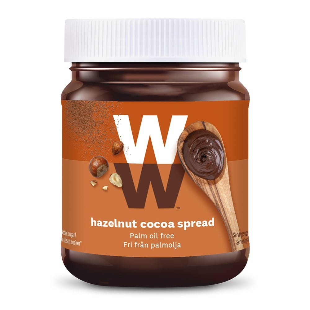 WW Hazelnut Cocoa Spread,  rich cocoa and hazelnut, spread over toast, 2 SmartPoints per portion, palm-oil free, suitable for vegetarians