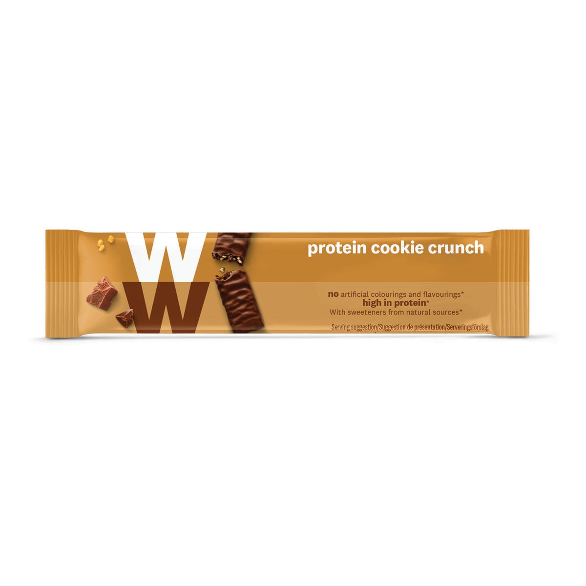 WW Protein Cookie Crunch Bar, wrapped in velvety milk chocolate, 2 SmartPoints values, high in protein, suitable for vegetarians