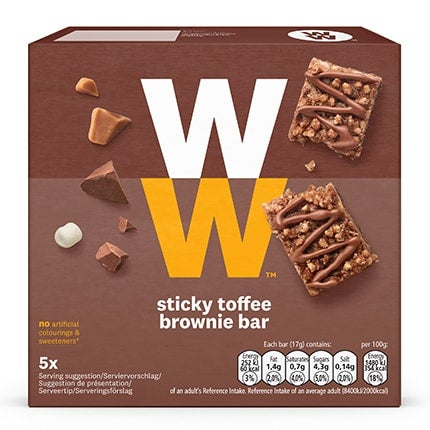 Box of 5, WW Sticky Toffee Bars, rich chocolate and sticky toffee pudding, gooey marshmallows and crispy cereal pieces, 2 SmartPoints values