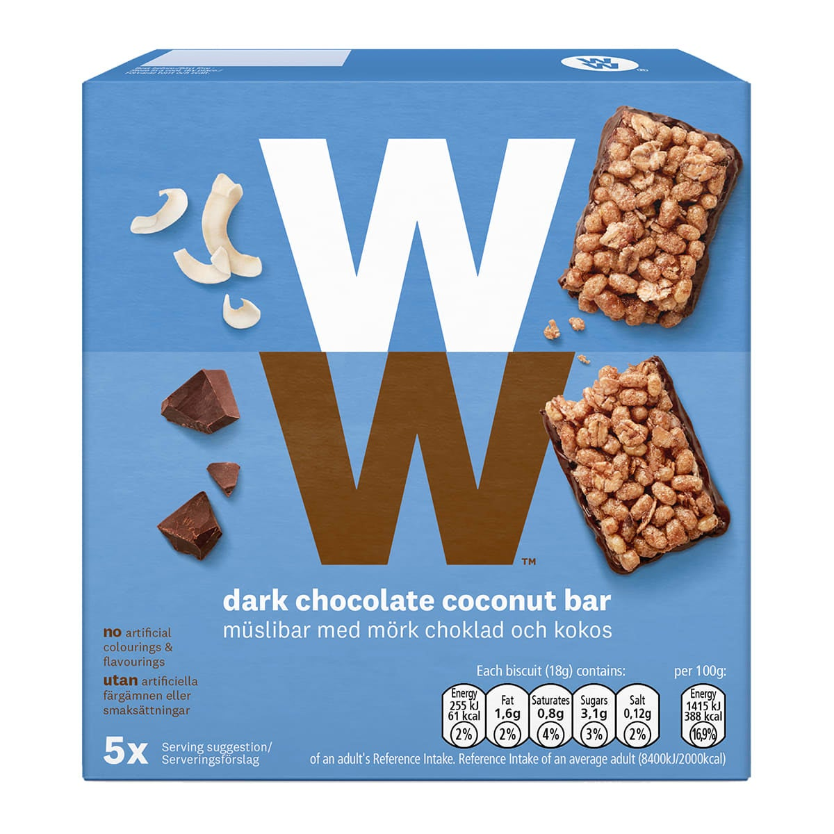 Box of 5, WW Dark Chocolate and Coconut Cereal Bars, dark chocolate flavoured coating and coconut flakes, 2 SmartPoints values, suitable for vegetarians