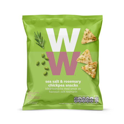 WW Rosemary Crisps, crunchy popped chickpea and bean snack with a rosemary flavour, 2 SmartPoints values per bag, suitable for vegetarians