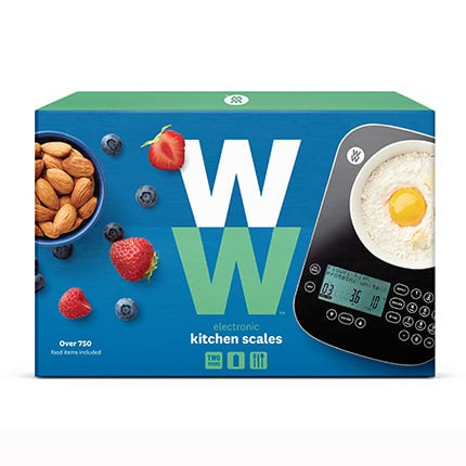 WW Kitchen Scales, include 700+ food items, calculate SmartPoints® in your food, recipe builder, accurate to 1g or 0.1oz, choice of metric or imperial, large LCD display