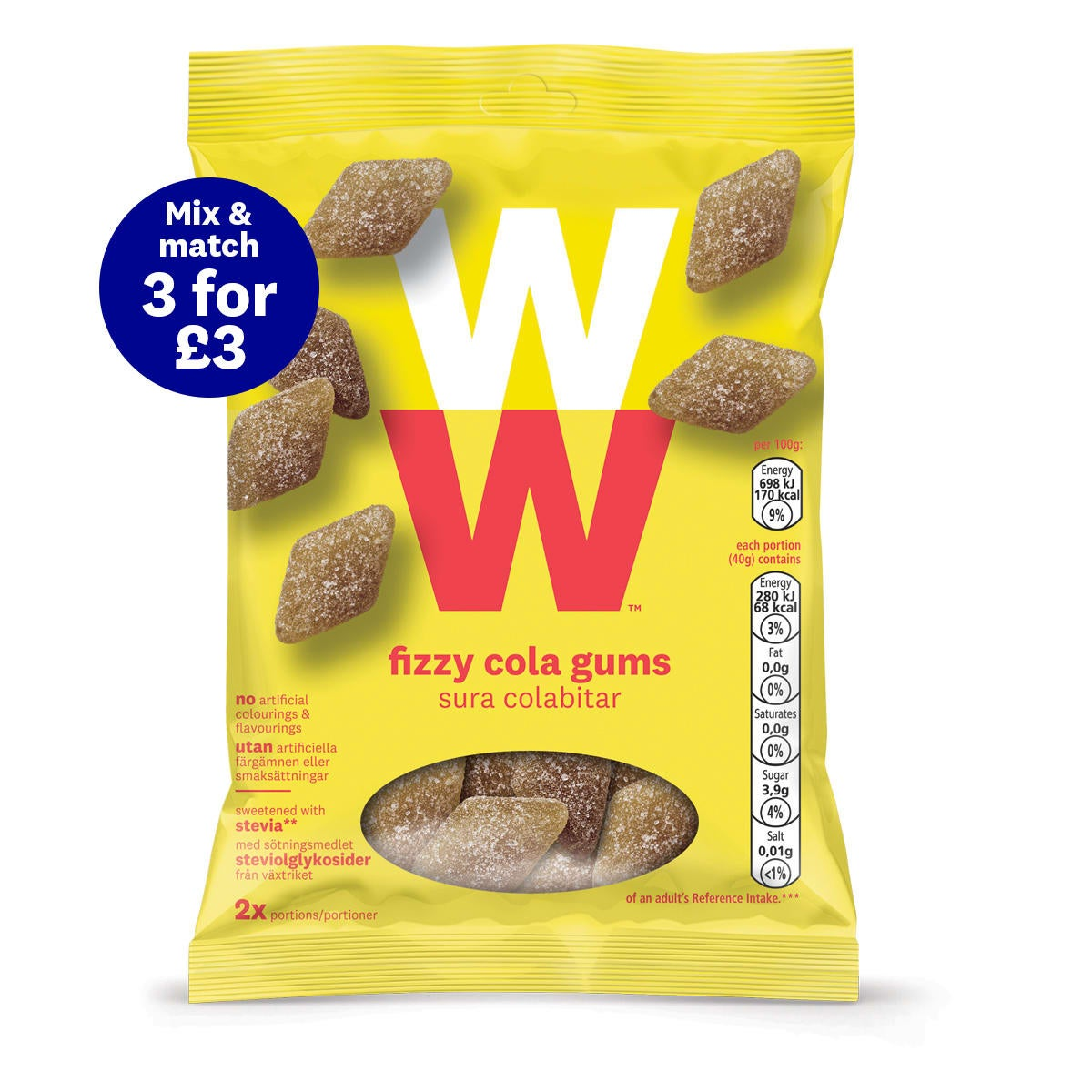 WW Fizzy Cola Gums, chewy and refreshingly sharp, mouth-wateringly fizzy, on-the-go treat, 2 SmartPoints®per portion (half a bag)