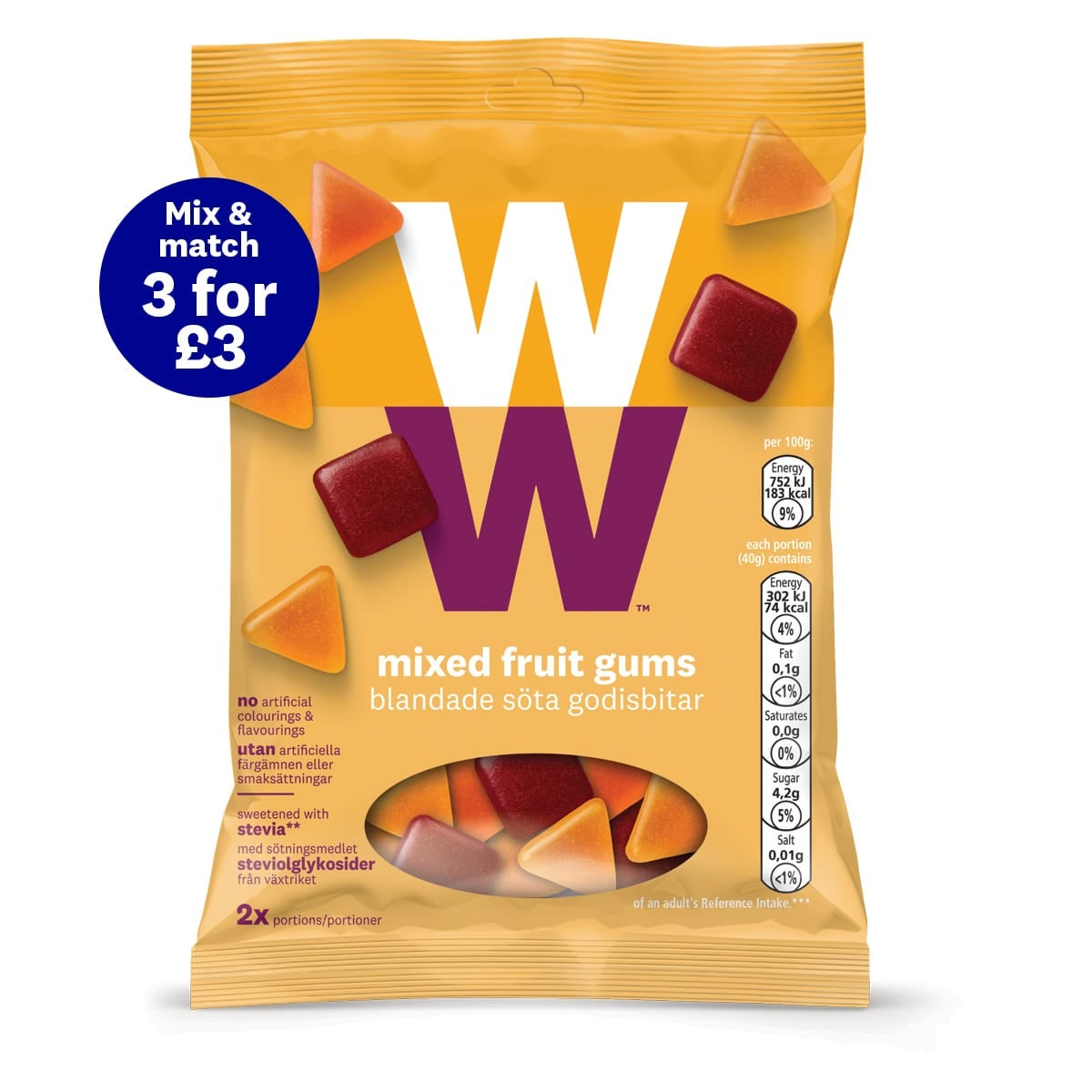 WW Fruit Gums, chewy, fruity fix, on-the-go treat, 2 SmartPoints®per portion (half a bag)