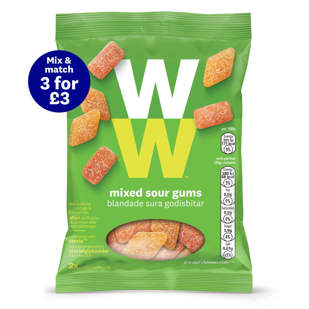 WW Mixed Sour Gums, fizzy on your tongue, bursting with flavour, on-the-go treat, 2 SmartPoints®per portion (half a bag)