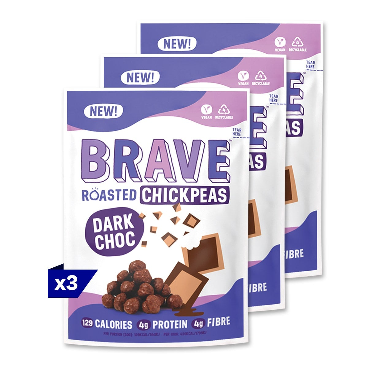 3 packs, Brave Dark Chocolate Roasted Chickpeas, 30g, roasted then coated in chocoloate, full of protein and fibre, 5 SmartPoints per bag, gluten free, suitable for vegans