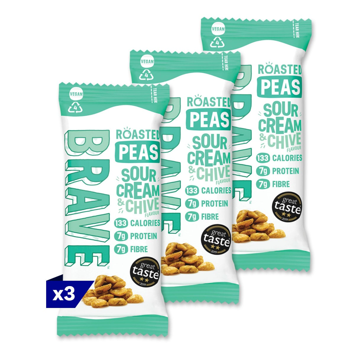 3 packs, Brave Sour Cream & Chive Peas, 35g, full of protein and fibre, 4 SmartPoints per bag, suitable for vegans