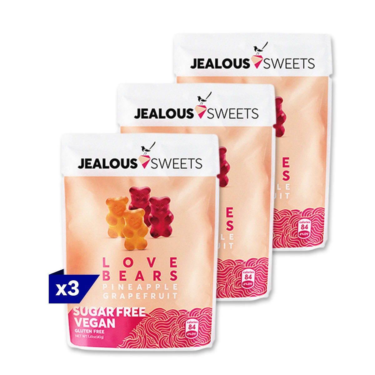 3 packs, Jealous Sweets Love Bears, mouth watering natural taste of pineapple or grapefruit, 3 SmartPoints values, suitable for vegans, gluten free