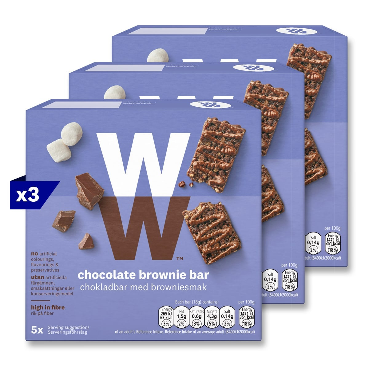 3 boxes, 5 bars in a box, WW Chocolate Brownie Bars, rich chocolate, marshmallow and crispy pieces, 2 SmartPoints values