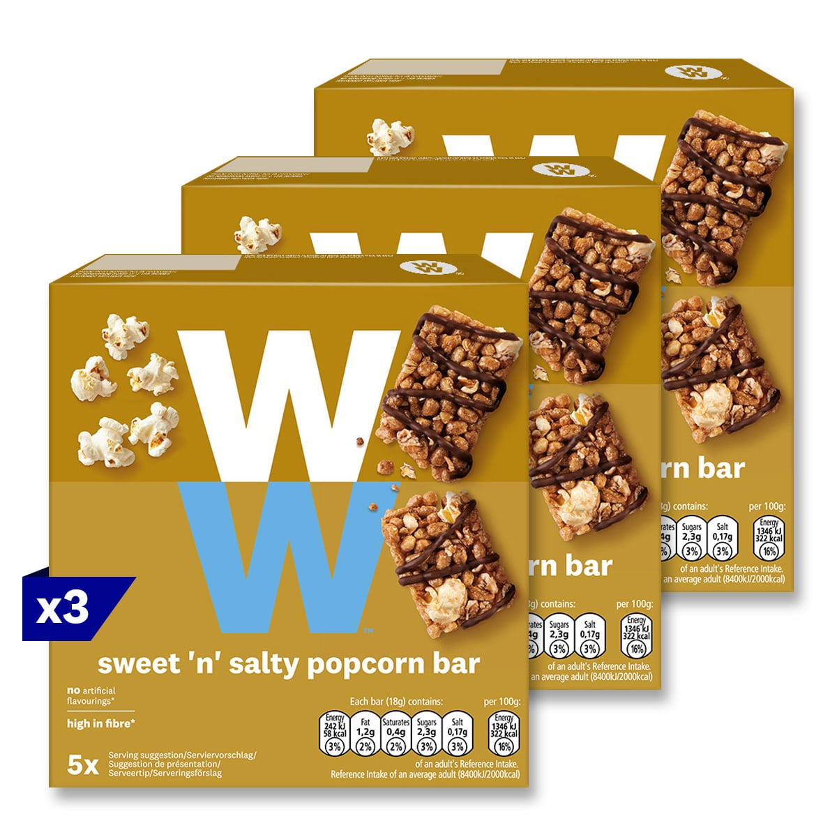 3 packs, WW Sweet 'n' Salty Popcorn Bar, topped with milk chocolate, high in fibre, 2 SmartPoints values, suitable for vegetarians