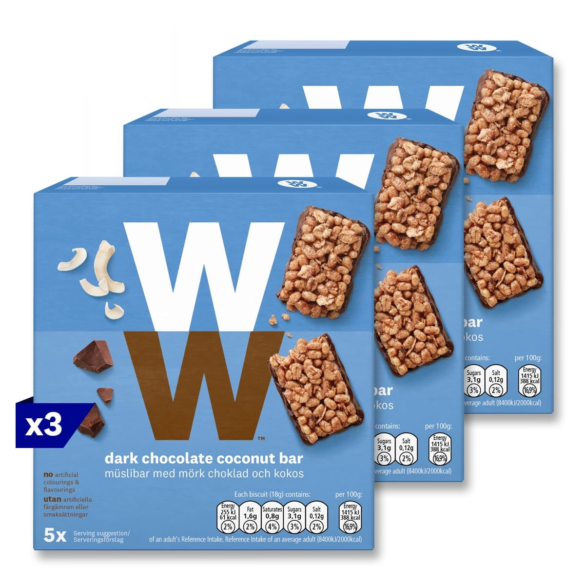 3 packs, Box of 5, WW Dark Chocolate and Coconut Cereal Bars, dark chocolate flavoured coating and coconut flakes, 2 SmartPoints values, suitable for vegetarians