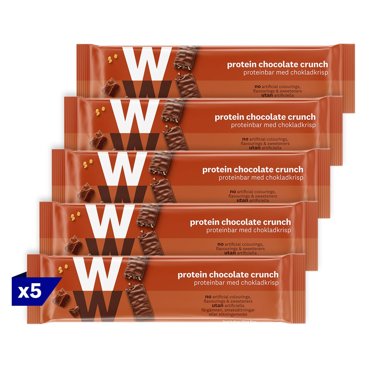 5 packs, WW Protein Chocolate Crunch Bar, wrapped in velvety milk chocolate, 2 SmartPoints values, high in protein, suitable for vegetarians