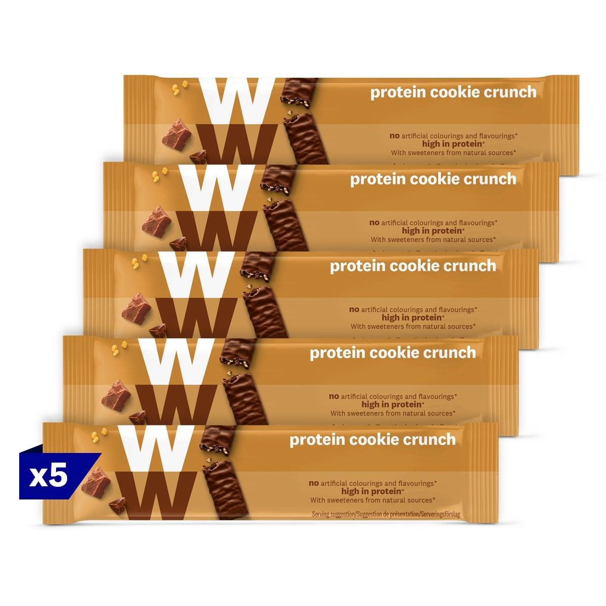 5 packs, WW Protein Cookie Crunch Bar, wrapped in velvety milk chocolate, 2 SmartPoints values, high in protein, suitable for vegetarians