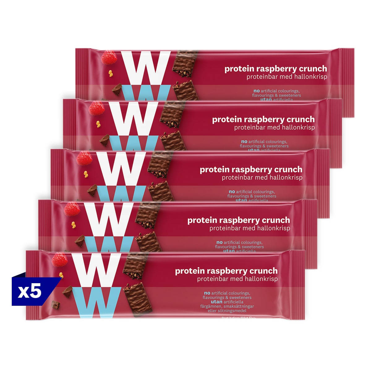 5 packs, WW Protein Raspberry Crunch Bar, wrapped in velvety milk chocolate, 2 SmartPoints values, high in protein, suitable for vegetarians