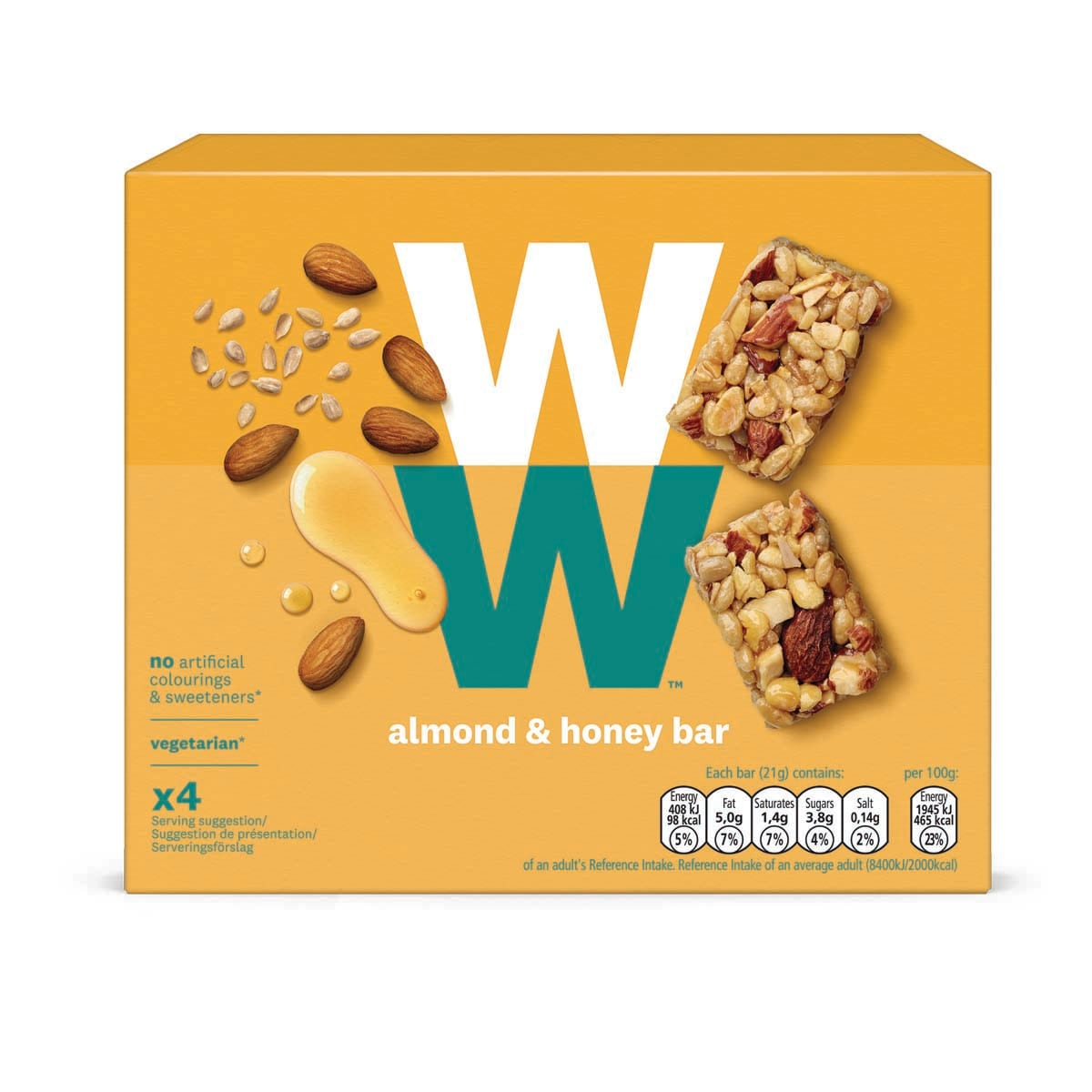 Box of 4, WW Almond and Honey Bar, roasted almonds, soya protein crispies, sunflower seeds and honey, 3 SmartPoints values, suitable for vegetarians