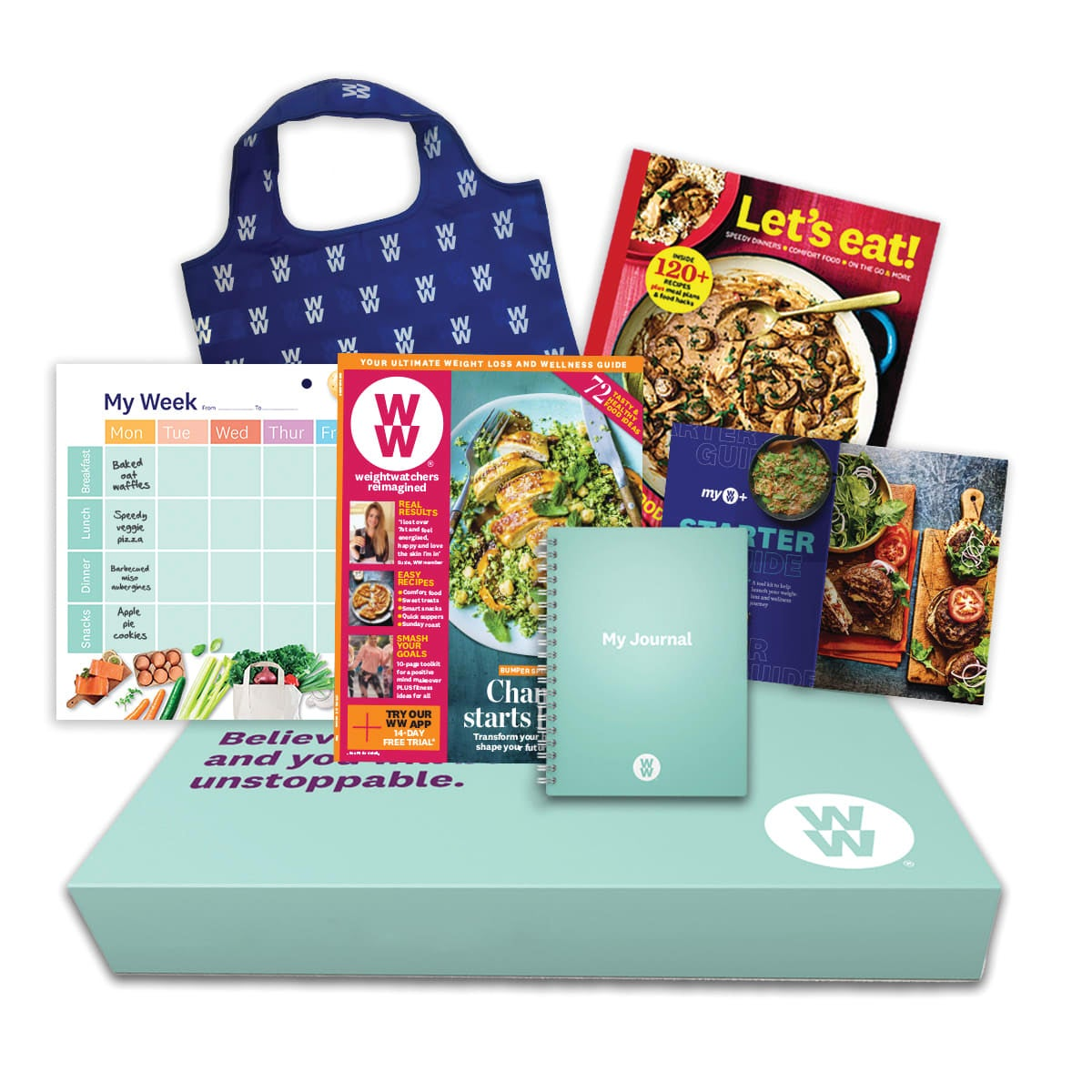 WW 12 Month At Home Kit, Includes 12 month Digital subscription, WW starter guide, Let's Eat! Cookbook, Meal Planner, food and activity Journal, Tote Bag