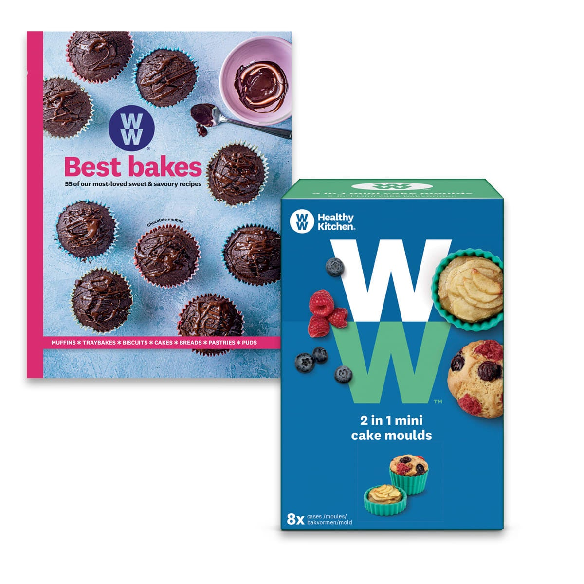 WW Bakes Kit, includes Best Bakes Cookbook, 2 in 1 muffin and tart cases