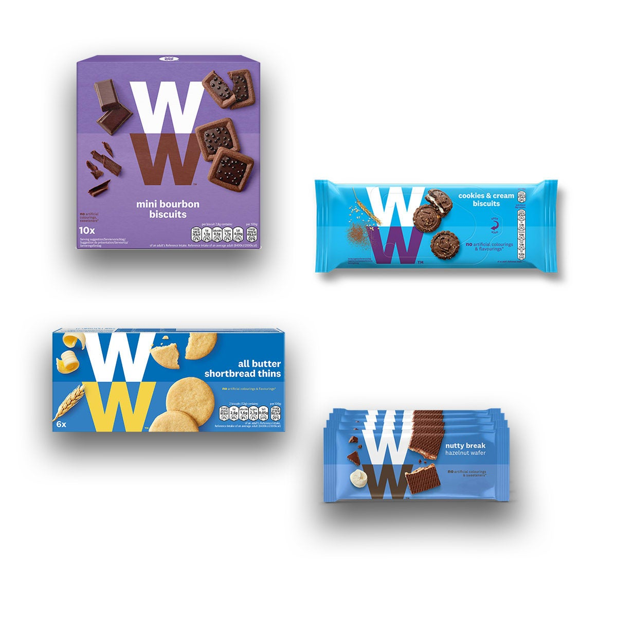 WW Biscuits Value Bundle, includes Shortbread Thins, Cookies and Cream Biscuits, Hazelnut Wafers, Mini Bourbon Biscuits