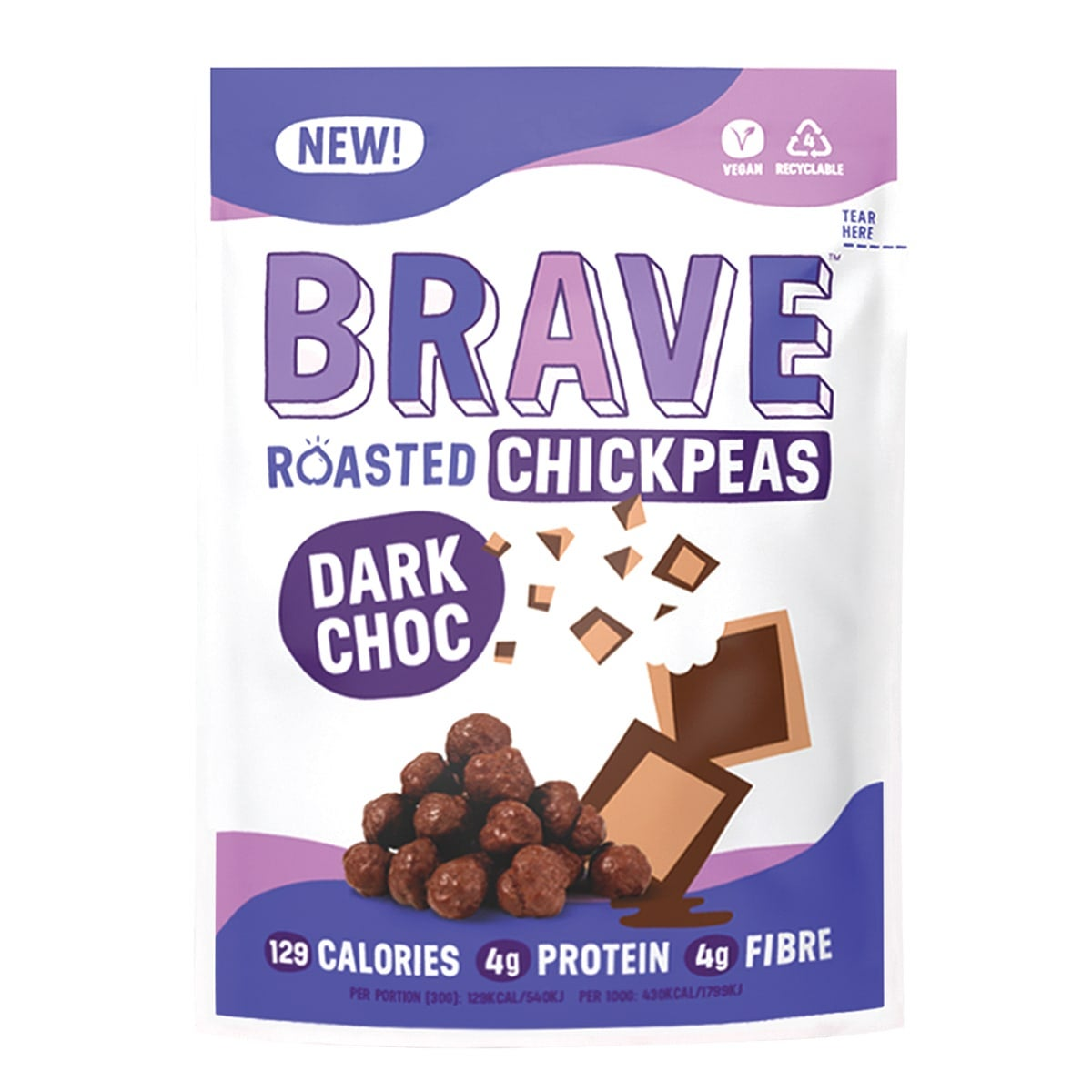 Brave Dark Chocolate Roasted Chickpeas, 30g, roasted then coated in chocoloate, full of protein and fibre, 5 SmartPoints per bag, gluten free, suitable for vegans