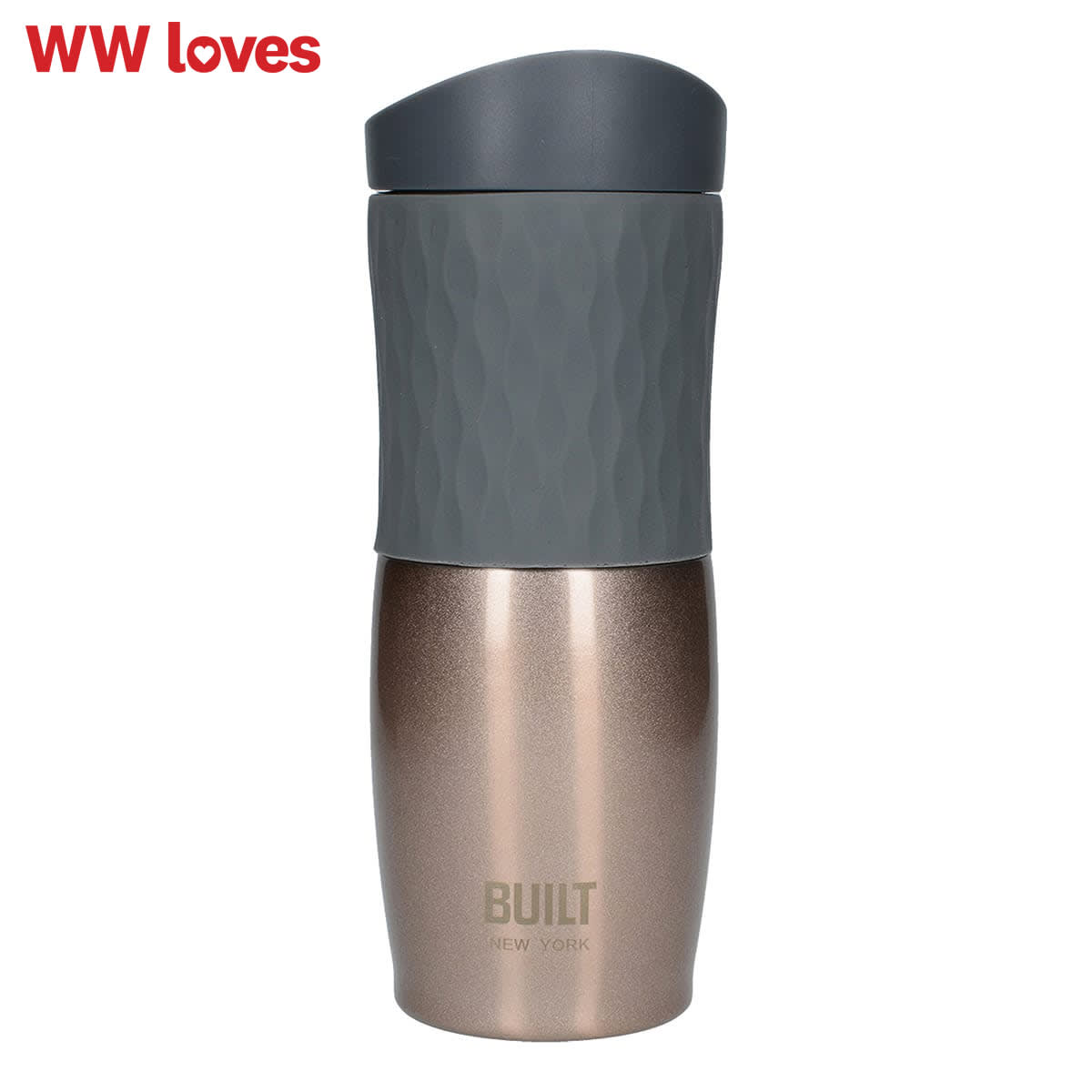 Built 470ml Double Walled Tilt Travel Mug, colour midnight blue and black, vacuum-insulated body, BPA Free, stays cold for up to 24 hours and hot for up to 8 hours