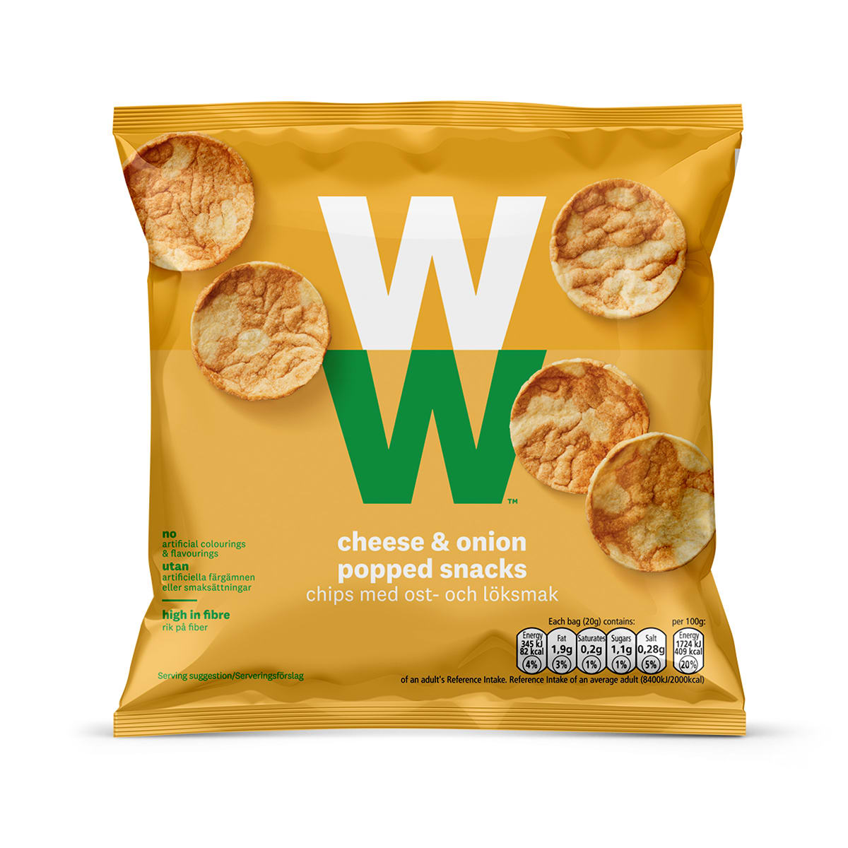 Classic flavour tangy cheese and sweet onion savoury snacks, soya and chickpea, baked not fried, 2 SmartPoints values per bag, suitable for vegetarians