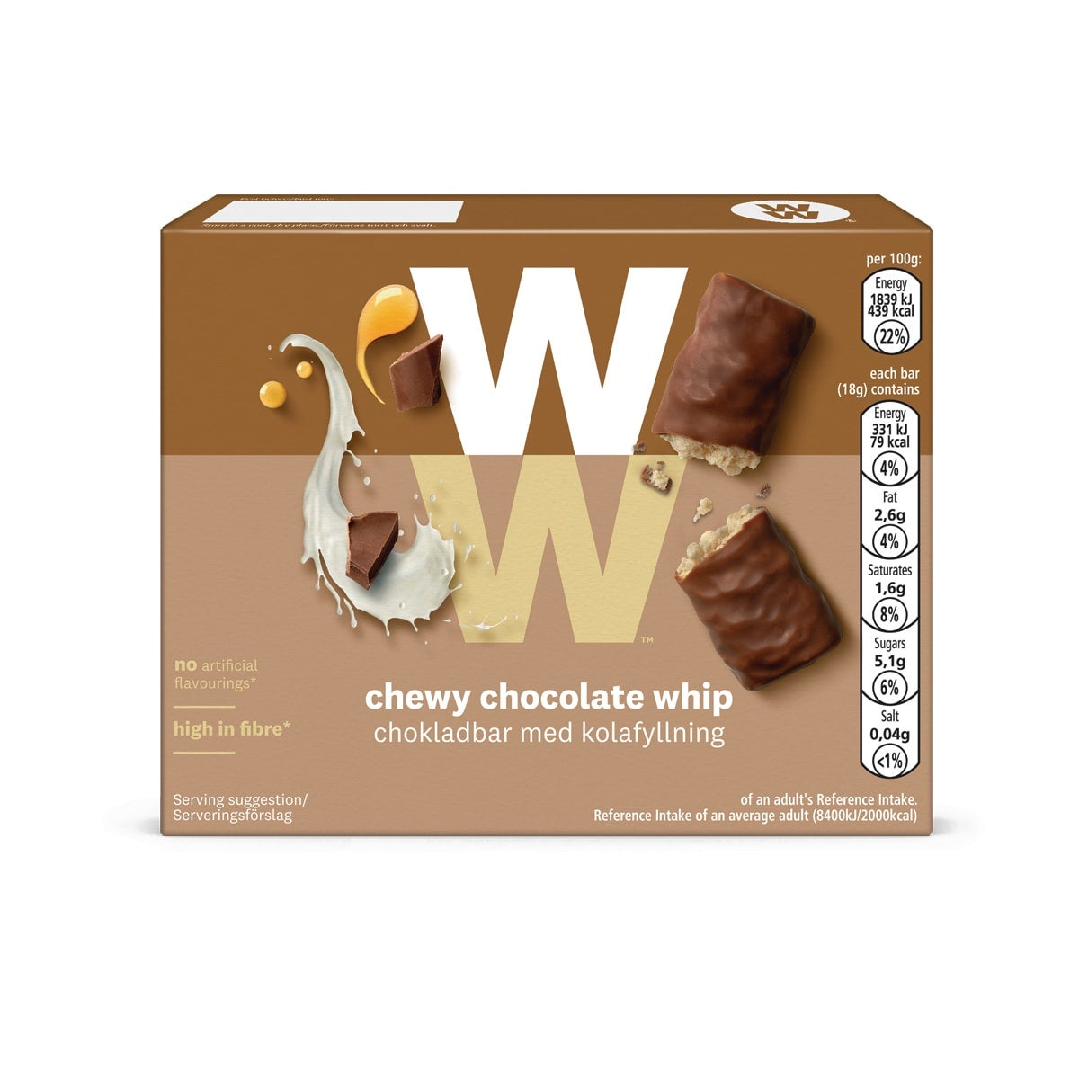 Box of 4, WW Chewy Chocolate Whip Bar, crisped cereal, caramel chips, gooey honey centre, 3 SmartPoints values, suitable for vegetarians