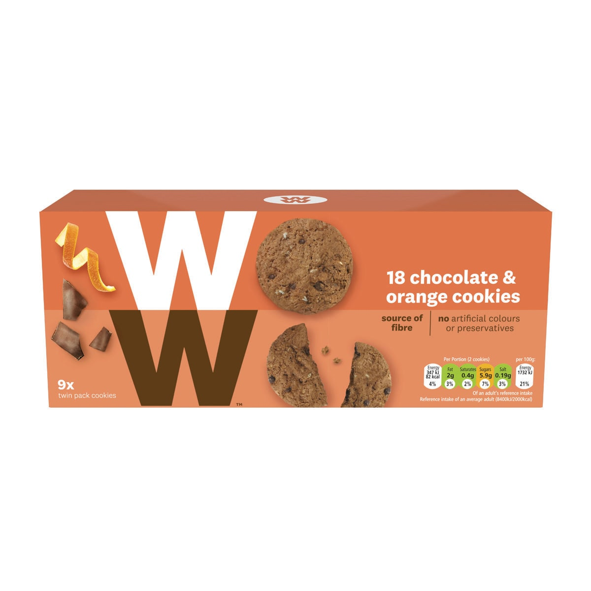 Box of 9, WW Chocolate and Orange Biscuits, packed in twinpack, 3 SmartPoints values per 2 biscuits, suitable for vegetarians