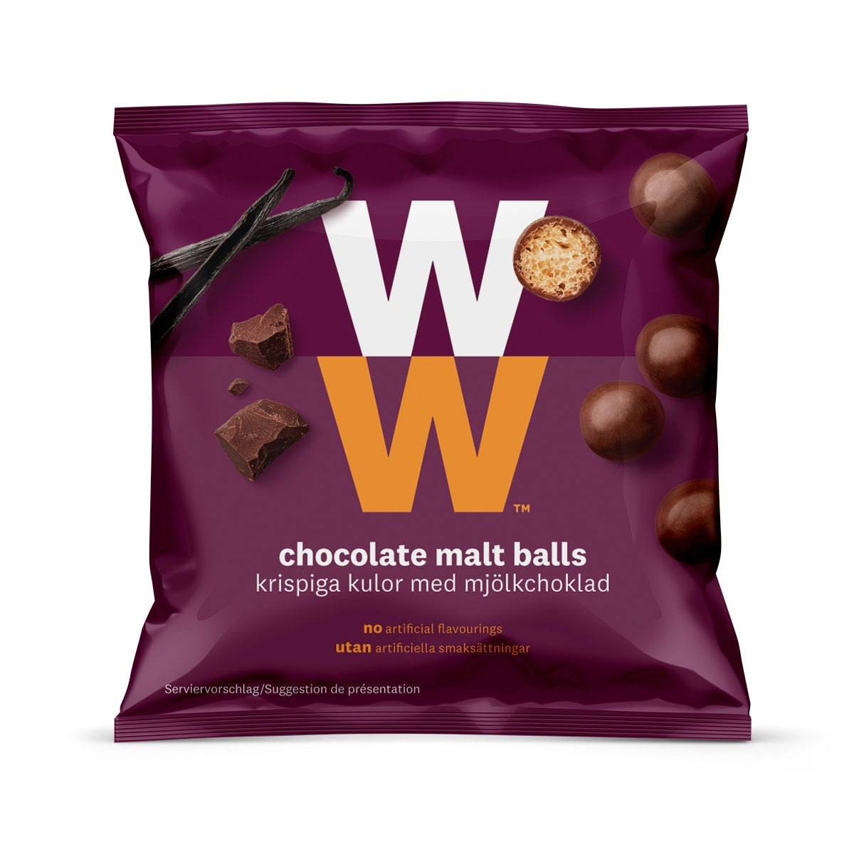 Crispy WW Chocolate Malt cereal balls wrapped in real milk chocolate, crunchy, airy centre, 2 SmartPoints values