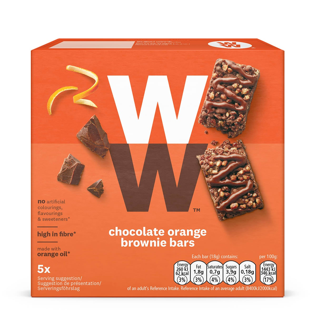 Box of 5, WW Chocolate and Orange Brownie Bars, zingy orange, rich chocolate, marshmallow and crispy pieces, 2 SmartPoints values
