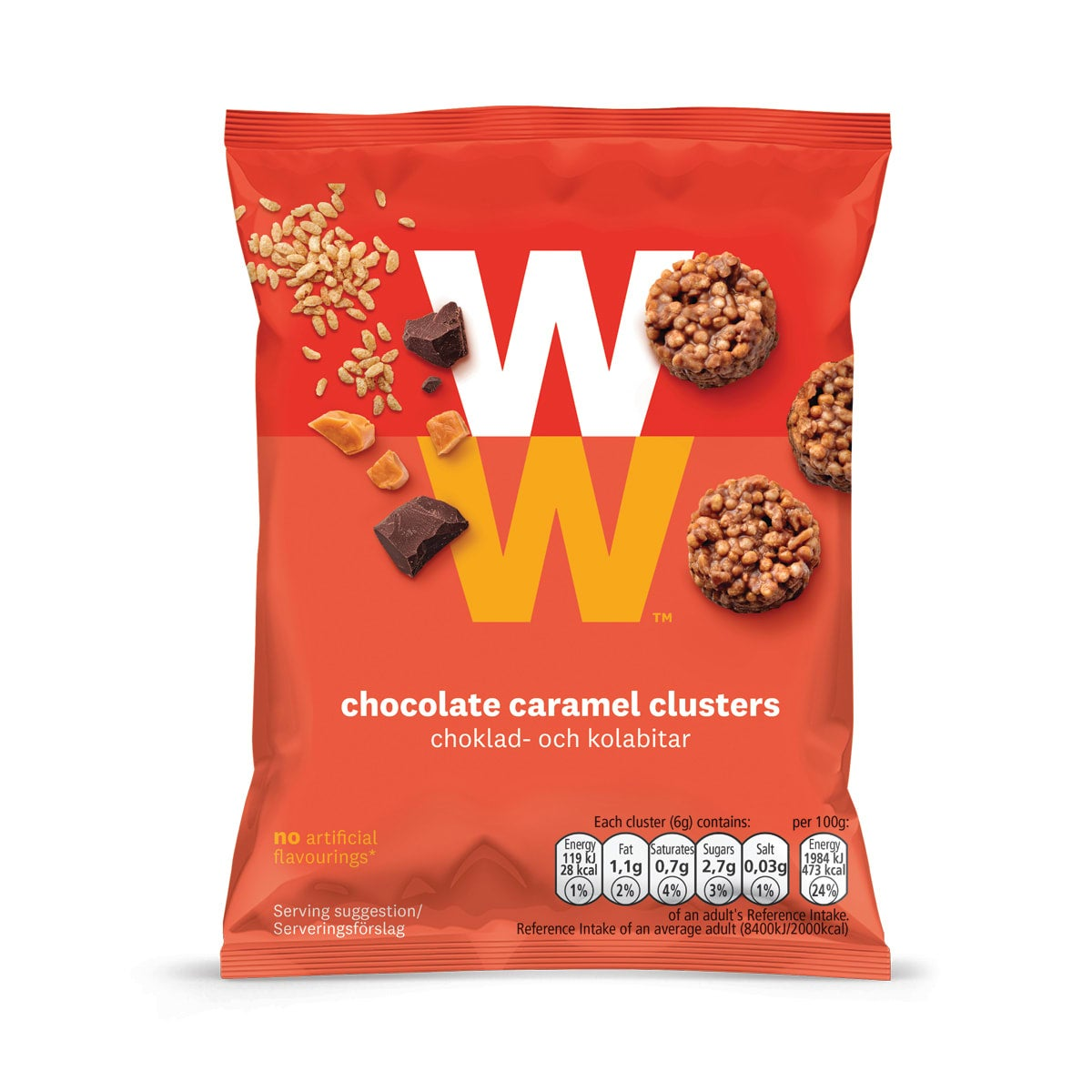 WW Chocolate Caramel Clusters, milk chocolate and caramel coated crisped cereal clusters, 1 SmartPoint per cluster