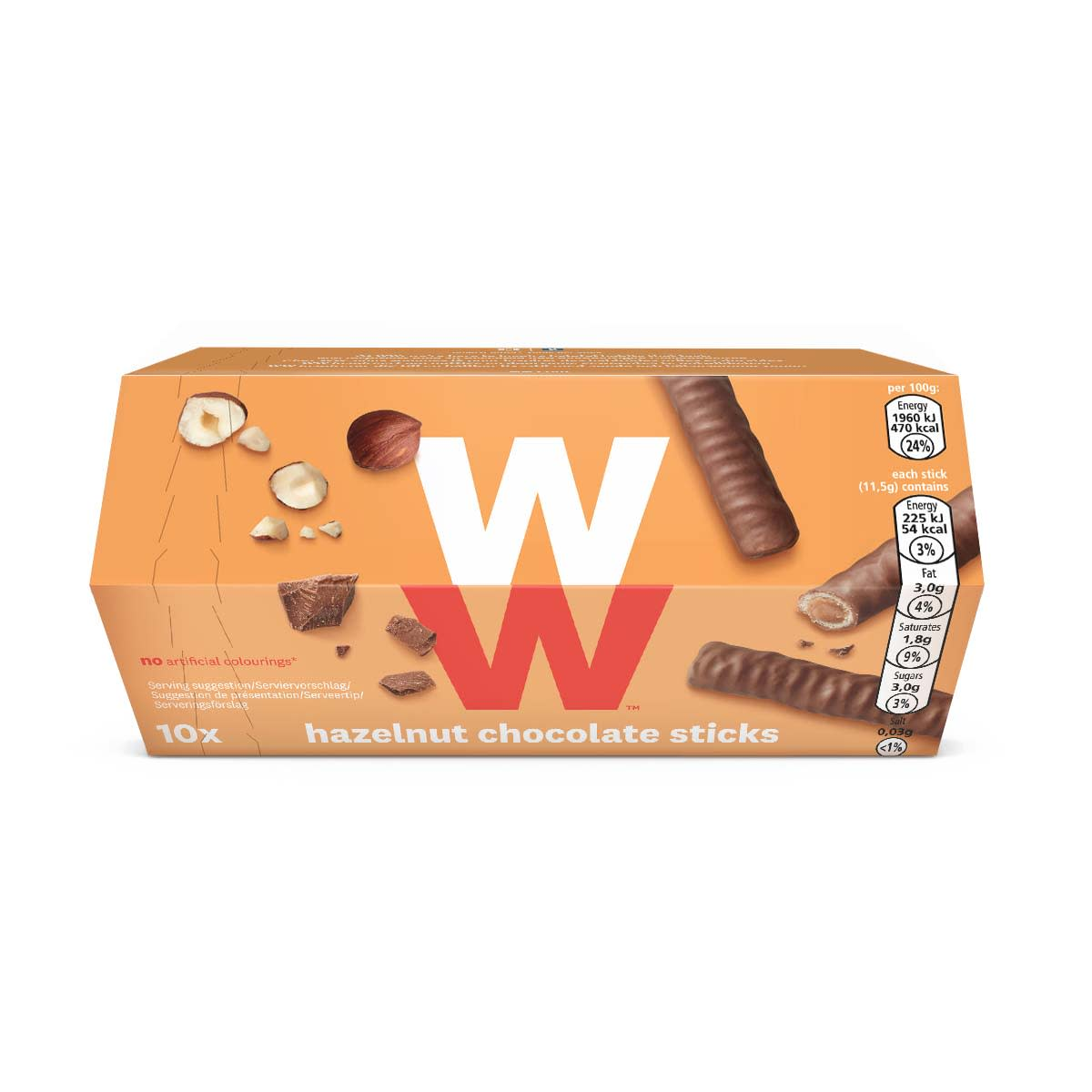 Box of 10 WW crispy wafer Hazelnut Chocolate Sticks wrapped in milk chocolate, only 2 SmartPoints values per stick, suitable for vegetarians, on the go treat