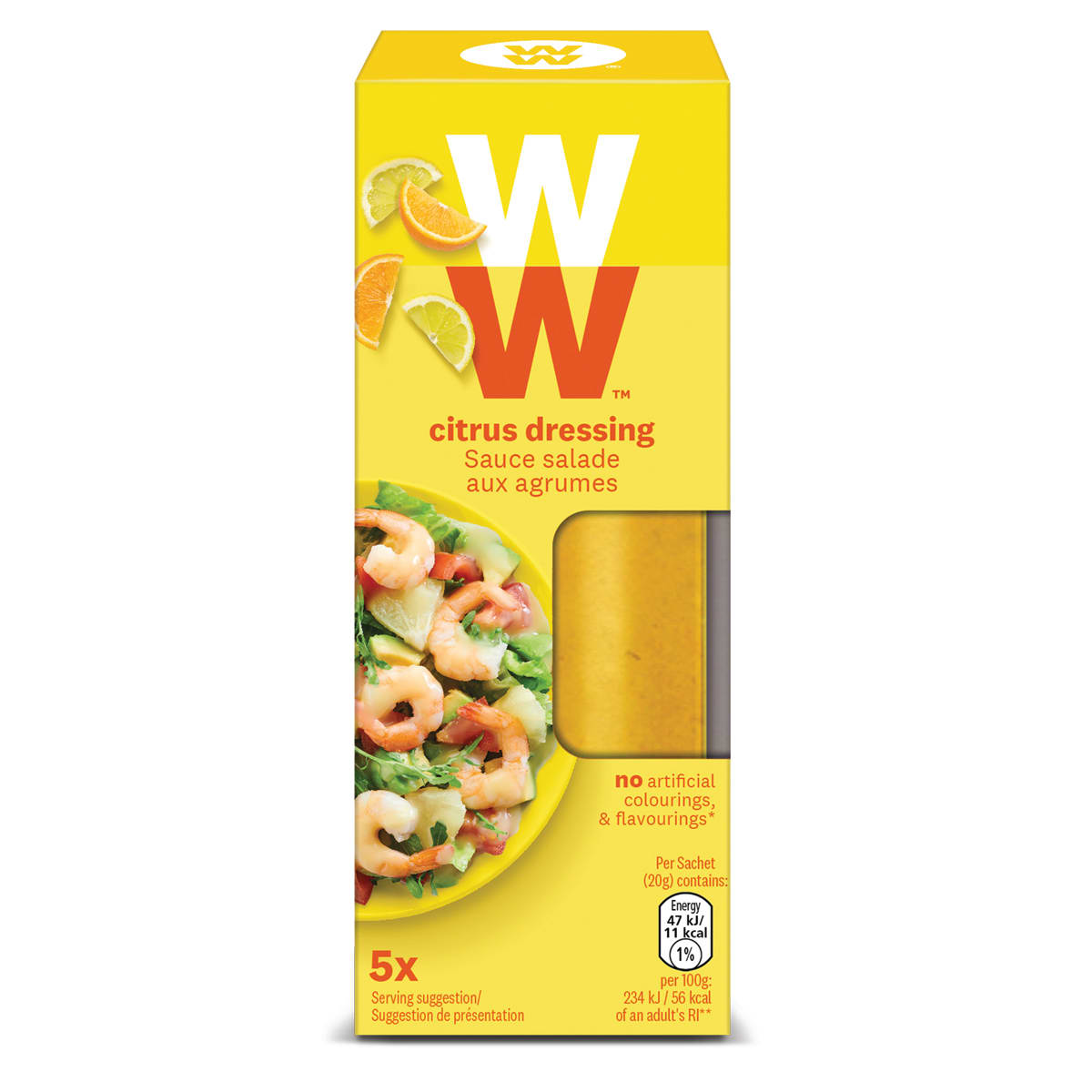 Box of 5 sachets, refreshingly zesty WW Citrus Dressing, instant flavor booster, perfect for salads, 1 SmartPoints value each