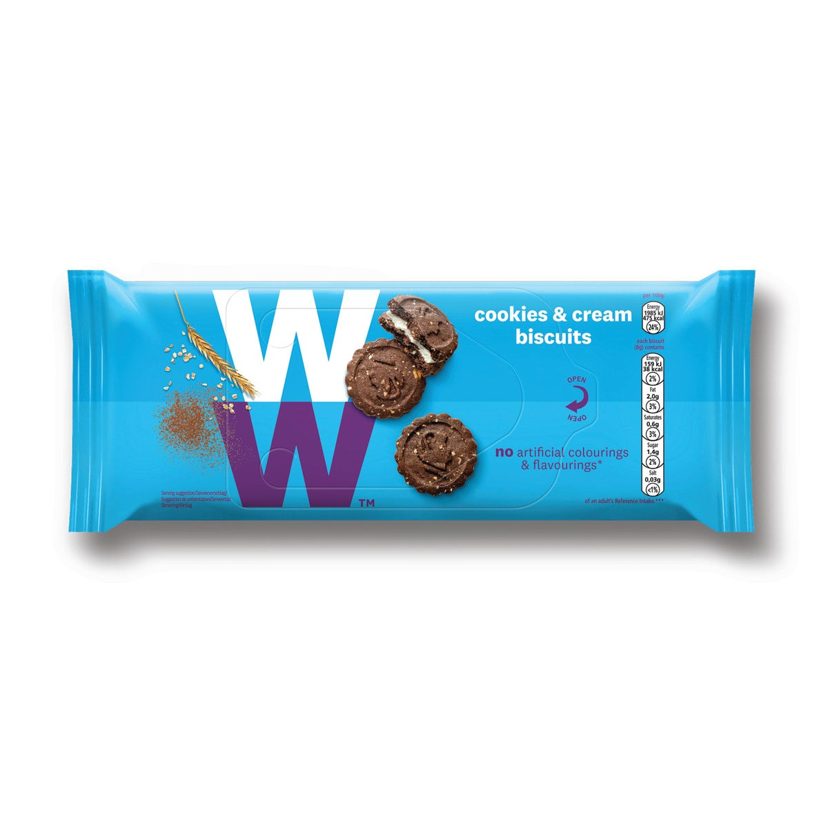 Box of 31, WW Cookies and Cream Biscuits, chocolate sandwich biscuit with a cream filling,  perfect snack with a cuppa, 1 SmartPoint value