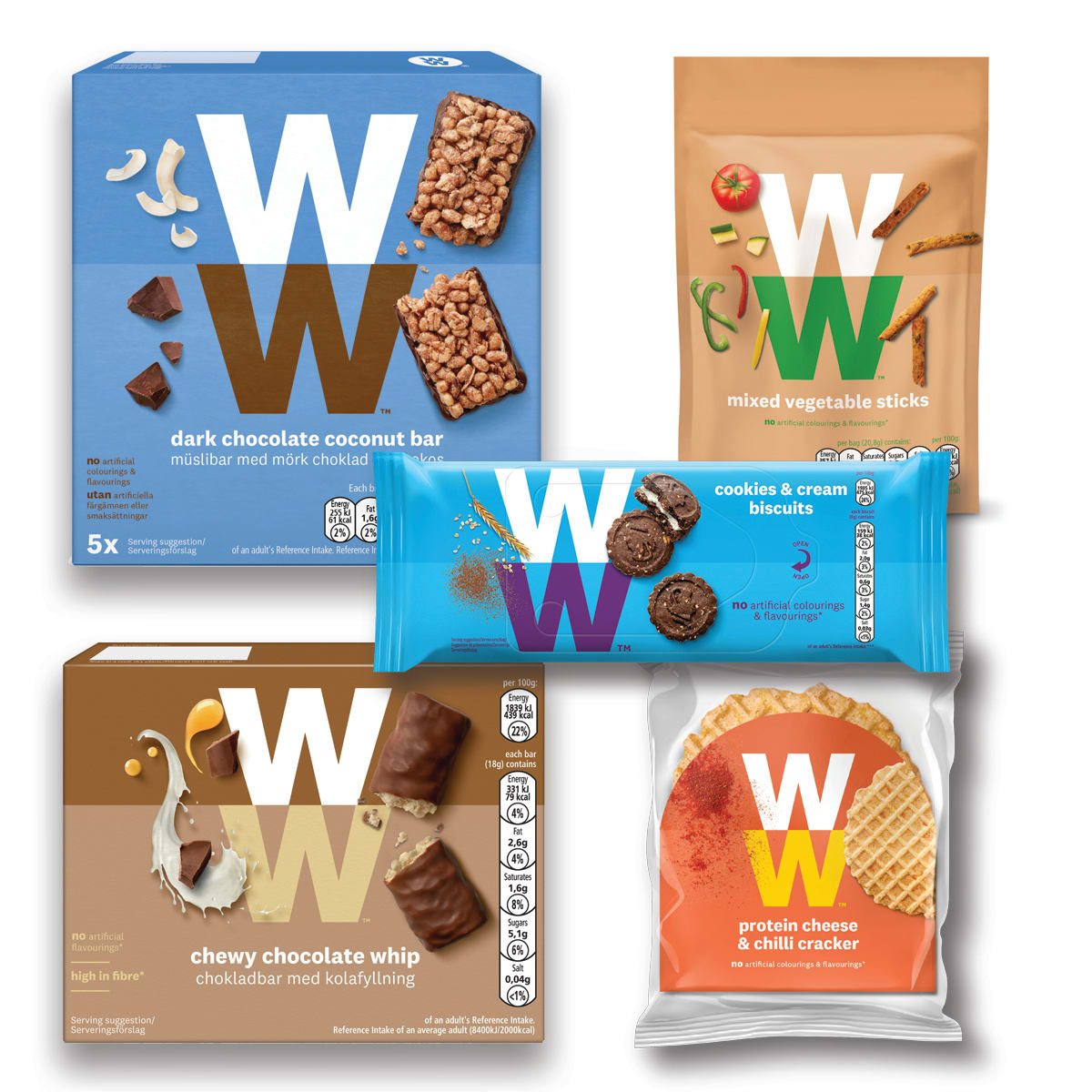 WW Essential Snacking Bundle, includes Cheese and Chilli Crackers, Mixed Vegetable Sticks, Chewy Whip Bar, Dark Chocolate and Coconut Cereal Bar, Cookies and Cream Biscuits.