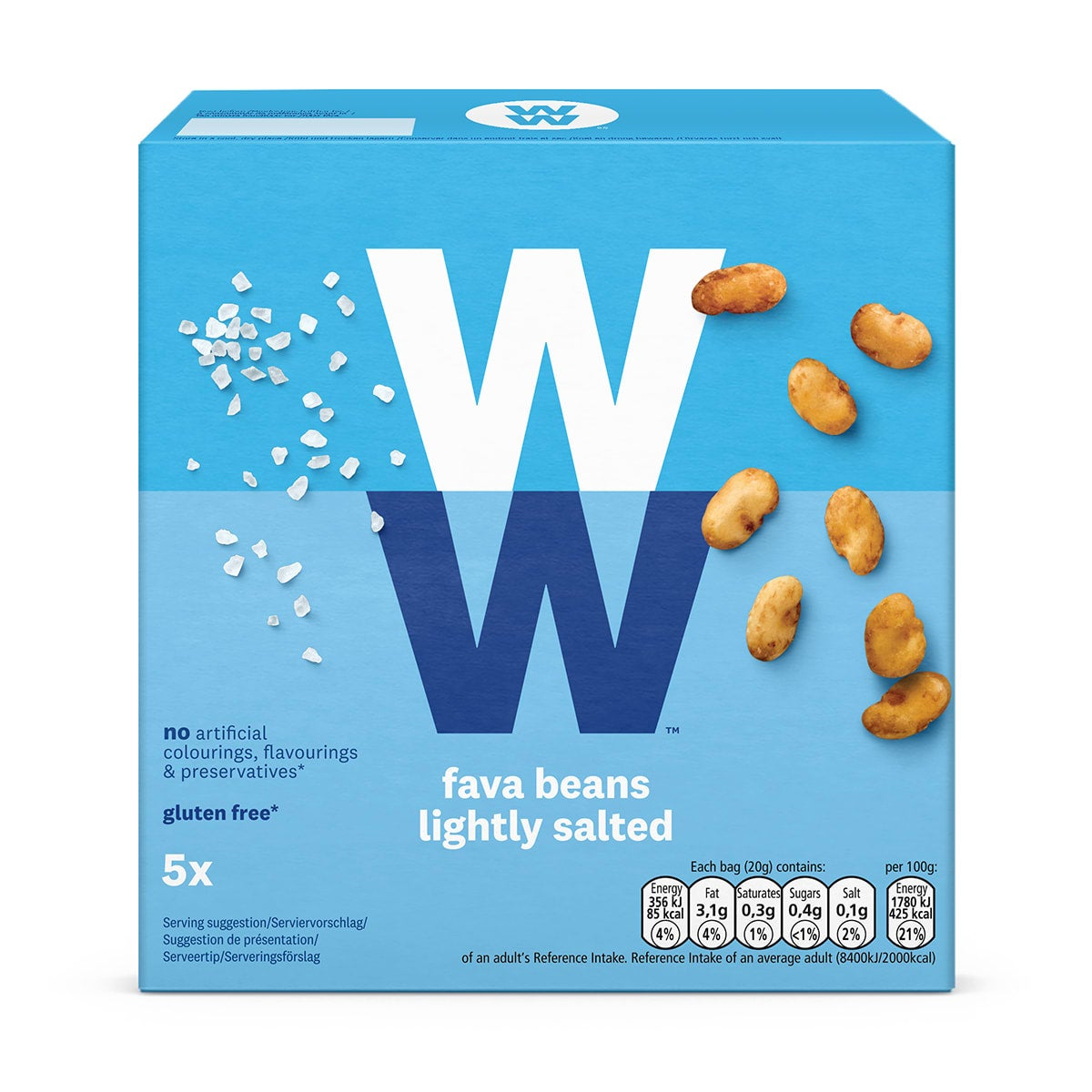 Roasted, lightly salted WW Fava Beans, ideal on-the-go snack, high in protein, 2 SmartPoints values, suitable for vegans