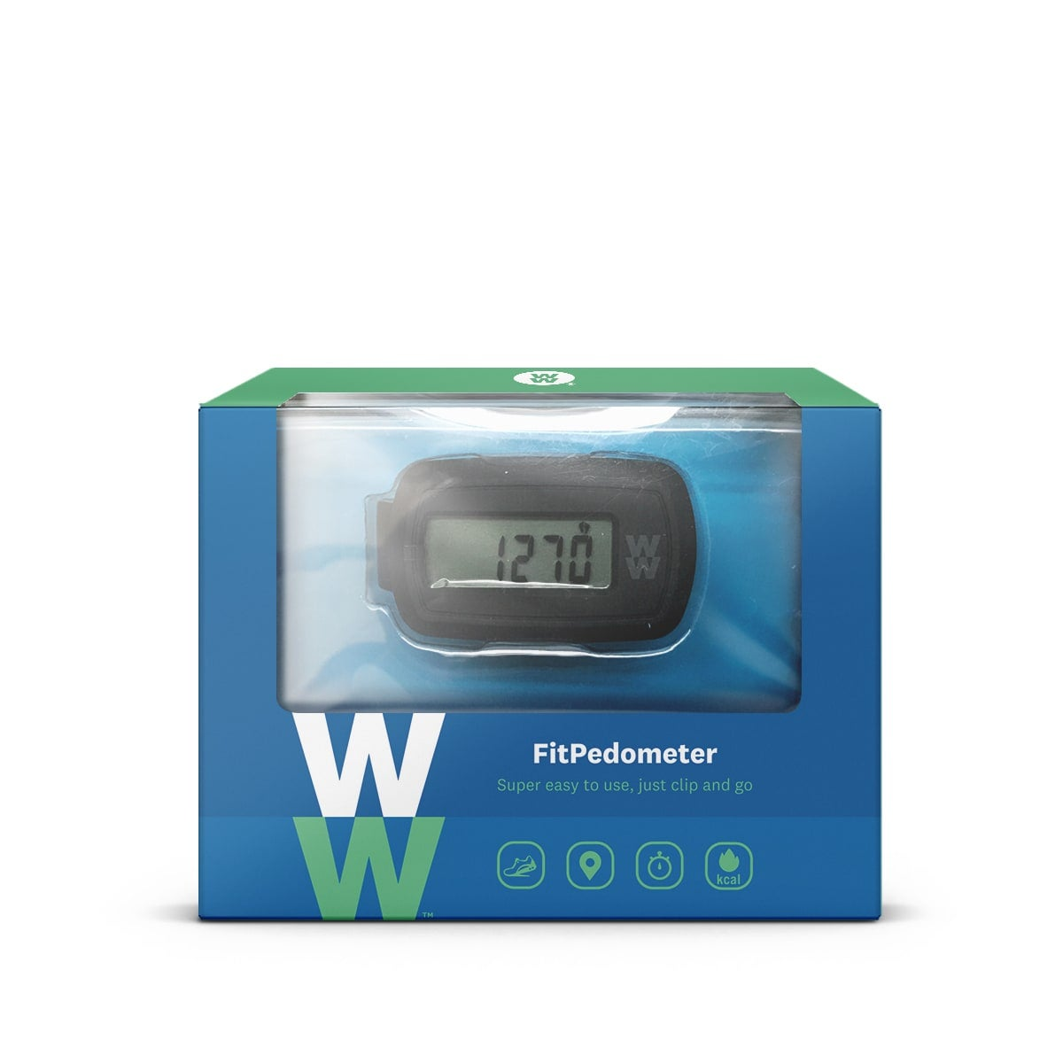 WW Pedometer, simple gadget to track steps, distance and calories burned, view your activity in real time, clip on
