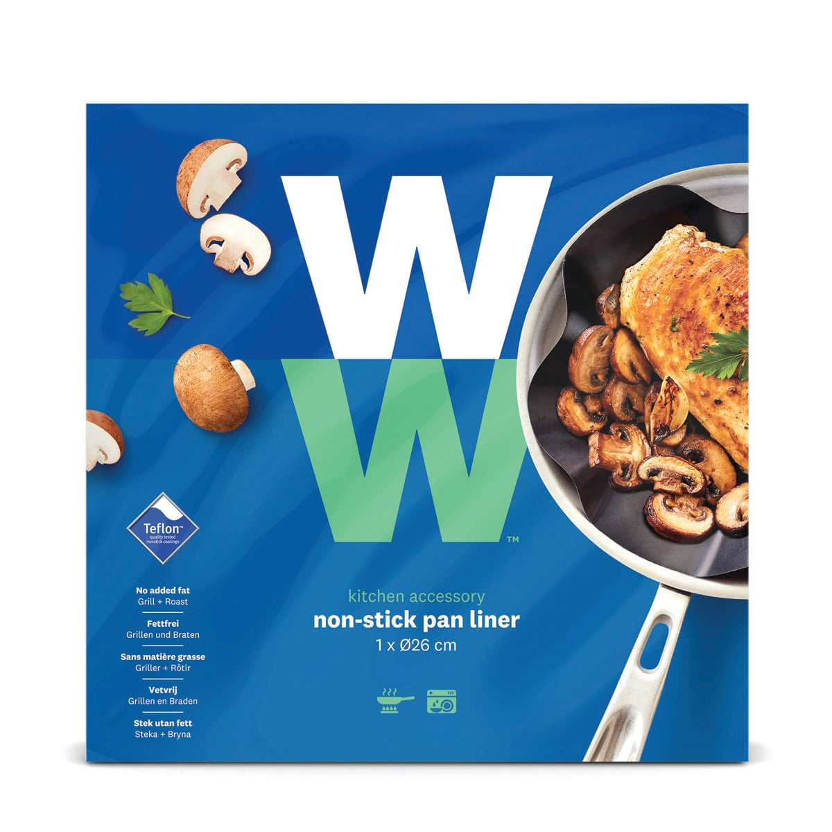 Durable, Teflon®-coated non-stick WW Frying Pan Liner for grease-free frying, washable and reusable, easy to wash, dishwasher safe