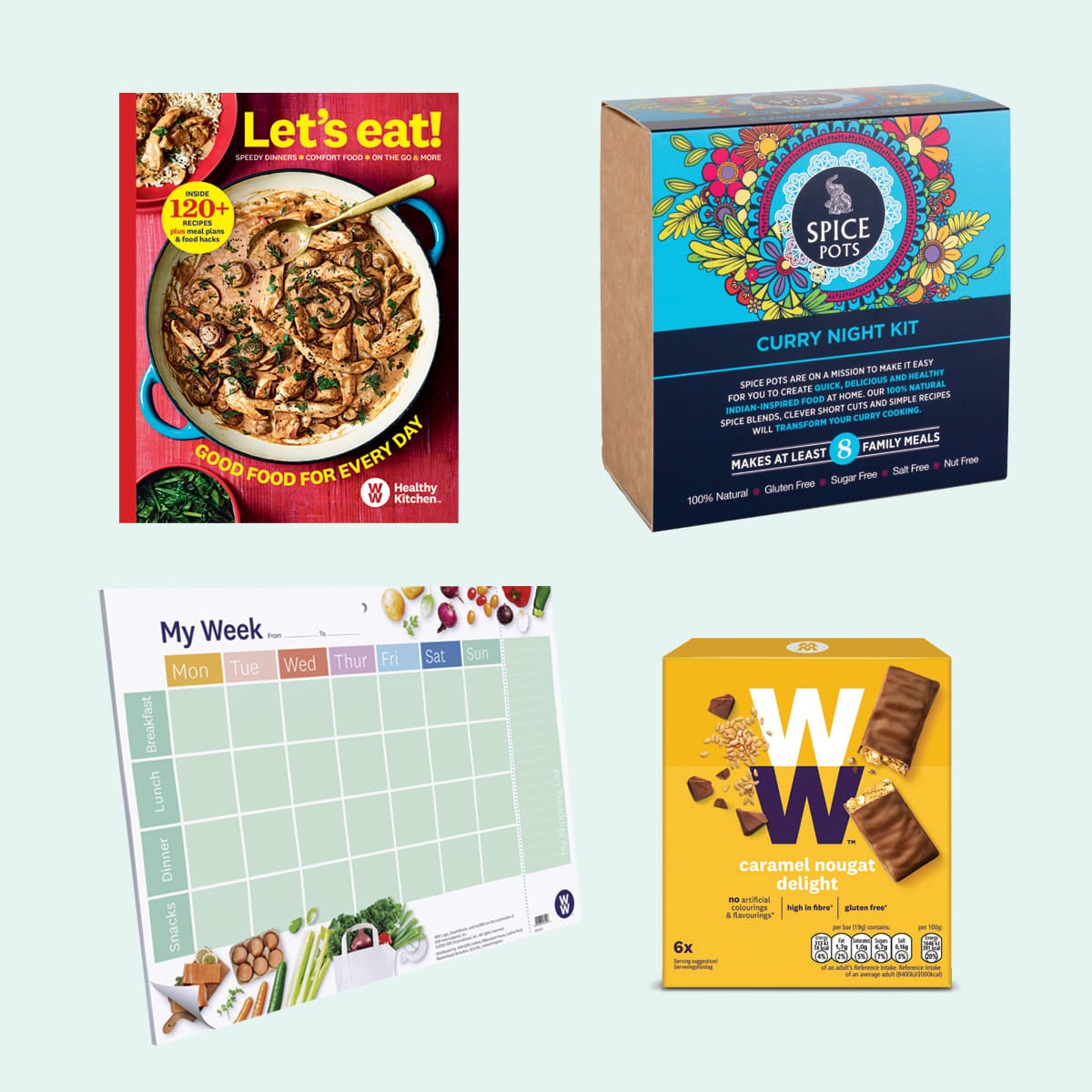 WW Green Kit, include Let's Eat cookbook, Meal Planner Pad, Curry Night Kit, Caramel Nougat Delight