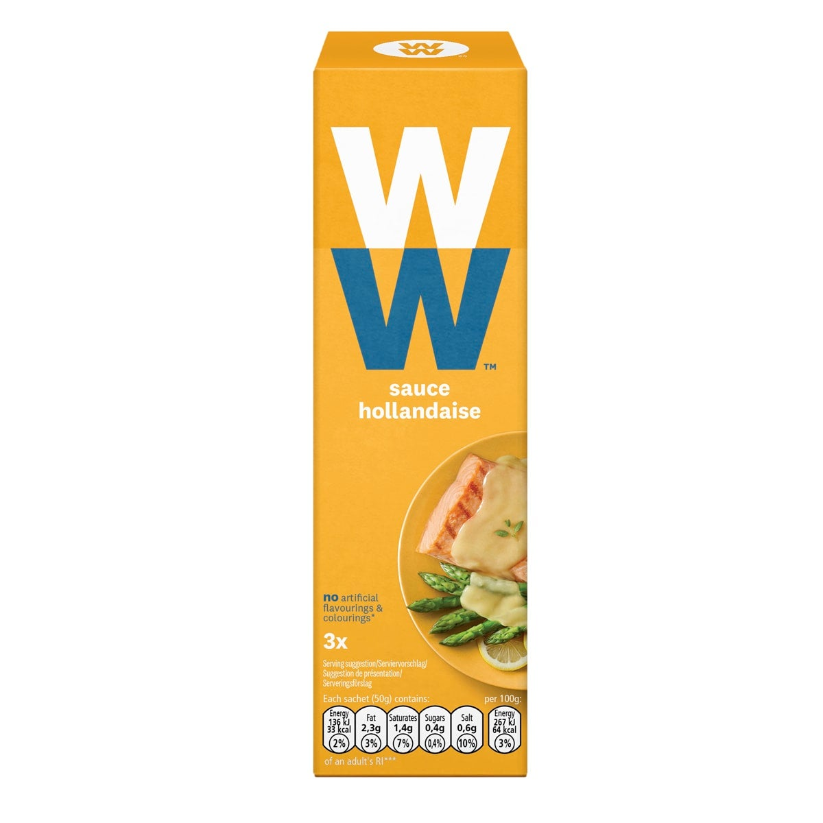 Box of 3 sachets of WW Hollandaise Sauce, simply microwave to add instant flavour to your food, instant flavor booster, silky smooth, suitable for vegetarians