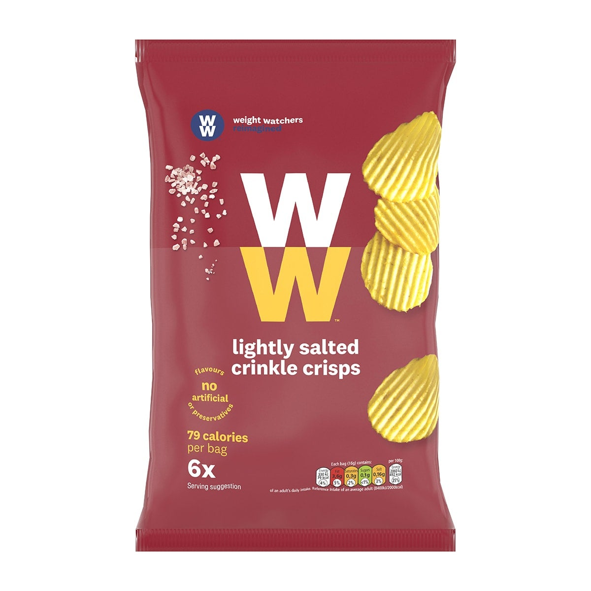 Pack of 6, WW Lightly Salted Crinkle Cut Crisps, contain at least 30% less fat than standard crisps, lighted salted, 2 SmartPoints values per bag, suitable for vegetarians