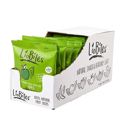 Box of 15, Liobites Apple Crisps, crunchy snack, 1 of your 5 a day, freeze dried, add to cereal or porridge, 2 SmartPoints values, gluten free, suitable for vegans