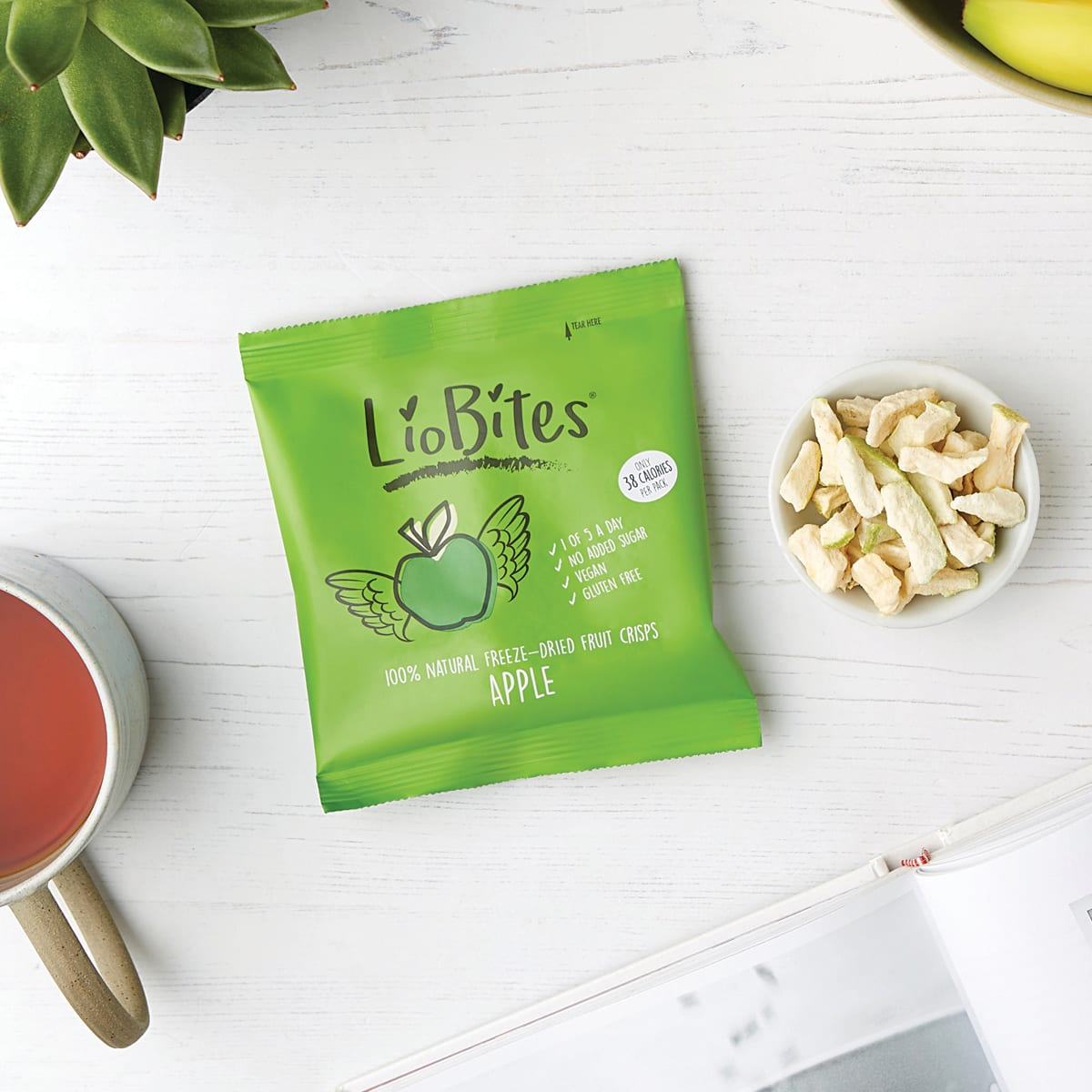 Liobites Apple Crisps, crunchy snack, 1 of your 5 a day, freeze dried, add to cereal or porridge 2 SmartPoints values, gluten free, suitable for vegans