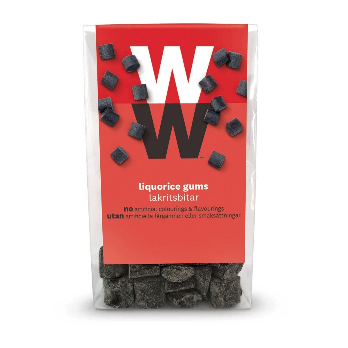 WW Liquorice Sweets, intense liquorice flavour, 3 SmartPoints values per portion (half a bag), perfect for sharing, suitable for vegetarians